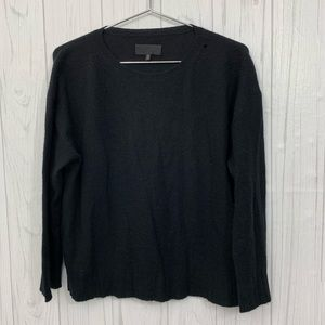 NILI LOTAN 100% CASHMERE BLACK CREW NECK SWEATER S